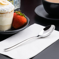 World Tableware 930 002 Briossa 7 1/8 inch 18/8 Stainless Steel Extra Heavy Weight Dessert Spoon - 12/Case