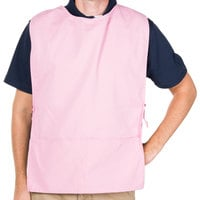 29 inch x 17 1/2 inch Light Pink Poly-Cotton Cobbler Apron with Two Pockets
