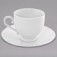 10 Strawberry Street RW0010 Royal White 8 oz. White Round Porcelain Sophia Cup with Saucer - 24/Case