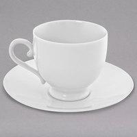 10 Strawberry Street RW0010 Royal White 8 oz. White Round Porcelain Sophia Cup with Saucer - 24/Case
