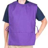 Intedge Purple Adjustable Poly-Cotton Cobbler Apron with 2 Pockets - 29 inchL x 17.5 inchW
