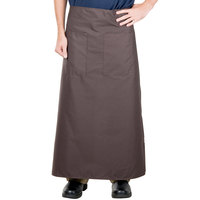 38 inch x 33 1/2 inch Brown Two Pocket Poly-Cotton Bistro Apron