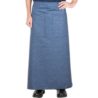 38 inch x 33 1/2 inch Denim Two Pocket Poly-Cotton Bistro Apron
