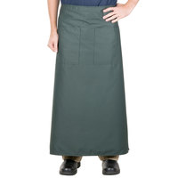 38 inch x 33 1/2 inch Hunter Green Two Pocket Poly-Cotton Bistro Apron