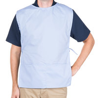 29 inch x 17 1/2 inch Light Blue Poly-Cotton Cobbler Apron with Two Pockets