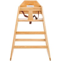Tablecraft 6565104 Stacking Hardwood High Chair with Natural Finish, Assembled