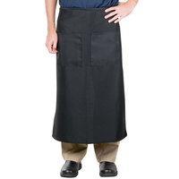 38 inch x 33 1/2 inch Black Two Pocket Poly-Cotton Bistro Apron