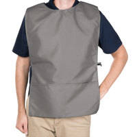 Intedge 29 inch x 17 1/2 inch Gray Poly-Cotton Cobbler Apron with Two Pockets