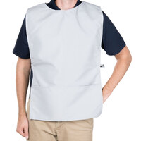 29 inch x 17 1/2 inch Gray Poly-Cotton Cobbler Apron with Two Pockets