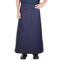 38 inch x 33 1/2 inch Navy Blue Two Pocket Poly-Cotton Bistro Apron