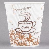 Choice 10 oz. Sleeveless Bean Print Paper Hot Cup - 25/Pack