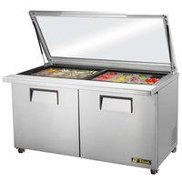 True TSSU-60-24M-B-ST-FGLID 60 inch Mega Top Sandwich / Salad Prep Refrigerator with Glass Lid