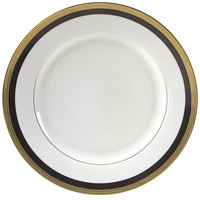 10 Strawberry Street SAH-1BK Sahara 10 3/4 inch Black and Gold Dinner Plate - 24/Case