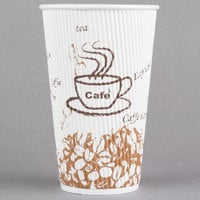 Choice 16 oz. Sleeveless Bean Print Paper Hot Cup   - 500/Case