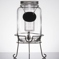 Core 2 Gallon Mason Jar Glass Beverage Dispenser with Infuser, Chalkboard Sign, and Black Stand