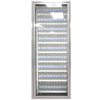 Styleline ML2675-NT MOD//Line 26 inch x 75 inch Modular Walk-In Cooler Merchandiser Door with Shelving - Bright Silver Smooth, Left Hinge