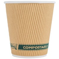 EcoChoice 10 oz. Sleeveless Kraft Compostable and Biodegradable Paper Hot Cup   - 25/Pack