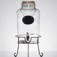 Core 2 Gallon Country Glass Beverage Dispenser with Chalkboard Sign and Black Stand