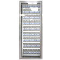Styleline ML3075-NT MOD//Line 30 inch x 75 inch Modular Walk-In Cooler Merchandiser Door with Shelving - Bright Silver Smooth, Left Hinge