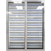 Styleline ML3079-NT MOD//Line 30 inch x 79 inch Modular Walk-In Cooler Merchandiser Doors with Shelving - Bright Silver Smooth, Left Hinge - 2/Set