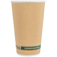 EcoChoice 16 oz. Sleeveless Kraft Compostable and Biodegradable Paper Hot Cup - 25/Pack