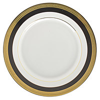 10 Strawberry Street SAH-5BK Sahara 7 inch Black and Gold Bread and Butter Plate - 24/Case