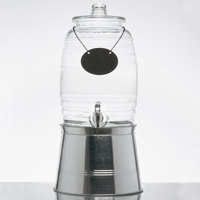Core 2.5 Gallon Barrel Glass Beverage Dispenser with Chalkboard Sign and Metal Stand