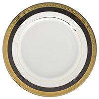 10 Strawberry Street SAH-4BK Sahara 8 inch Black and Gold Salad / Dessert Plate - 24/Case