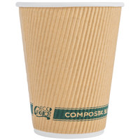 EcoChoice 12 oz. Sleeveless Kraft Compostable and Biodegradable Paper Hot Cup - 25/Pack