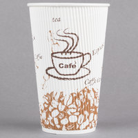 Choice 16 oz. Sleeveless Bean Print Paper Hot Cup - 25/Pack