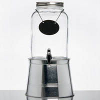 Core 2 Gallon Mason Jar Glass Beverage Dispenser with Chalkboard Sign and Metal Stand