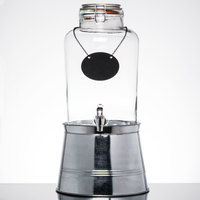Core 2 Gallon Country Glass Beverage Dispenser with Chalkboard Sign and Metal Stand