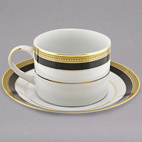 10 Strawberry Street SAH-9BK Sahara 8 oz. Black and Gold Porcelain Can Cup with Saucer - 24/Case