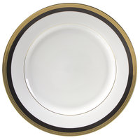 10 Strawberry Street SAH-2BK Sahara 9 inch Black and Gold Luncheon Plate - 24/Case