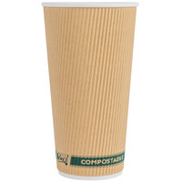 EcoChoice 20 oz. Sleeveless Kraft Compostable and Biodegradable Paper Hot Cup - 25/Pack