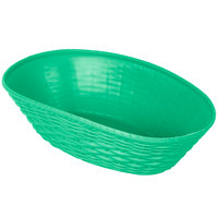 Carlisle 650409 WeaveWear Green Oval Plastic Serving Basket 9 inch x 6 1/4 inch - 12/Case