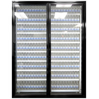 Styleline ML3075-HH MOD//Line 30 inch x 75 inch Modular High Humidity Walk-In Cooler Merchandiser Doors with Shelving - Satin Black Smooth, Right Hinge - 2/Set