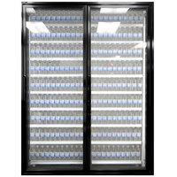 Styleline ML2675-LT MOD//Line 26 inch x 75 inch Modular Walk-In Freezer Merchandiser Doors with Shelving - Satin Black Smooth, Right Hinge - 2/Set