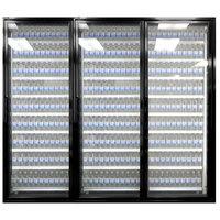 Styleline ML2475-LT MOD//Line 24 inch x 75 inch Modular Walk-In Freezer Merchandiser Doors with Shelving - Satin Black Smooth, Right Hinge - 3/Set