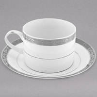 10 Strawberry Street PAR-9P Paradise 8 oz. Platinum Porcelain Cup and Saucer - 24/Case