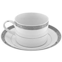 10 Strawberry Street PAR-9P Paradise 8 oz. Platinum Porcelain Cup and Saucer - 24/Case
