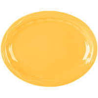 Syracuse China 903033615 Cantina 9 5/8 inch x 7 5/8 inch Saffron Carved Oval Porcelain Platter - 12/Case