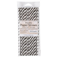 Creative Converting 051159 7 3/4 inch Jumbo Black Velvet / White Stripe Paper Straw - 144/Case