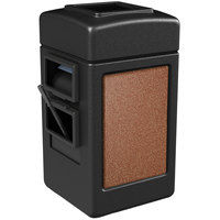 Commercial Zone 75511499 28 Gallon Islander Series Black Harbor 1 Stonetec Waste Container with Towel Dispenser and Windshield Wash Station