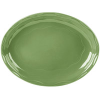 Syracuse China 903035001 Cantina 13 5/8 inch x 10 1/2 inch Sage Carved Oval Porcelain Platter - 6/Case