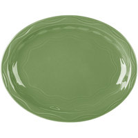 Syracuse China 903035615 Cantina 9 5/8 inch x 7 5/8 inch Sage Carved Oval Porcelain Platter - 12/Case