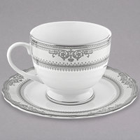 10 Strawberry Street VAN-9P Vanessa 8 oz. Platinum Porcelain Ballet Cup with Saucer - 24/Case