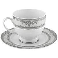 10 Strawberry Street VAN-9P Vanessa 8 oz. Platinum Porcelain Ballet Cup with Saucer   - 24/Case