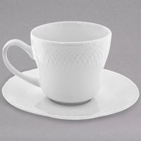 10 Strawberry Street WW0009 White Wicker 7.75 oz. Porcelain Cup and Saucer - 24/Case
