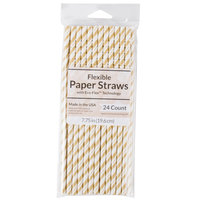 Creative Converting 315216 7 3/4 inch Jumbo Glittering Gold / White Stripe Paper Straw - 144/Case